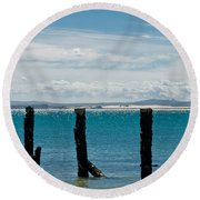 Beautiful Rotten Mooring On A Beach Round Beach Towel
