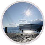 Bench In Backlight Round Beach Towel