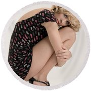 Blond Lady Round Beach Towel