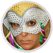Blond Woman With Mask Round Beach Towel