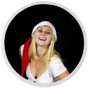 Blonde Woman With Santa Hat Round Beach Towel