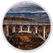 Bridge Over Autumn Round Beach Towel