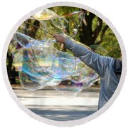 Bubble Boy Of Central Park Round Beach Towel