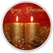 2 Candles Christmas Card Round Beach Towel