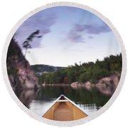 Canoeing In Ontario Provincial Park Round Beach Towel