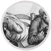 Caricature Of Two Alcoholics, 1773 Round Beach Towel
