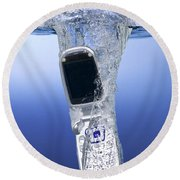 Cell Phone Dropped In Water Round Beach Towel