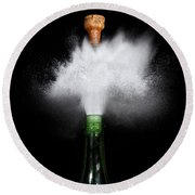 Champagne Cork Popping Round Beach Towel