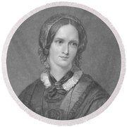 Charlotte Bronte, English Author Round Beach Towel by Photo Researchers
