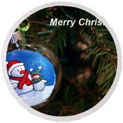 Christmas Card Round Beach Towel