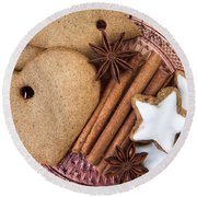 Christmas Gingerbread Round Beach Towel