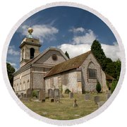 Church Of St. Lawrence West Wycombe  Round Beach Towel