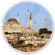 City Of Istanbul Round Beach Towel