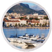 City Of Split In Croatia Round Beach Towel
