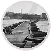 Civil War: Pontoon Bridge Round Beach Towel