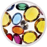 Colorful Gems Round Beach Towel by Setsiri Silapasuwanchai