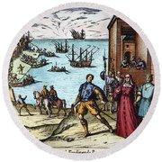 Columbus: Departure, 1492 Round Beach Towel