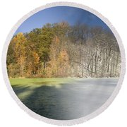 Composite Of Fall And Winter Round Beach Towel