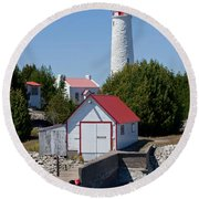 Cove Island Lighthouse Round Beach Towel