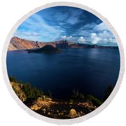 Crater Lake Blues Round Beach Towel