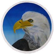 Eagle At Dusk Round Beach Towel