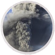 Eruption Of Ash Cloud From Mount Bromo Round Beach Towel