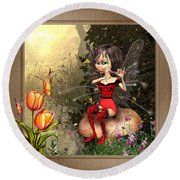 Fairy Playing The Flute Round Beach Towel