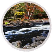 Fall Forest And River Landscape Round Beach Towel by Elena Elisseeva