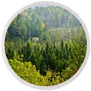 Fall Forest Rain Storm Round Beach Towel