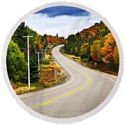 Fall Highway Round Beach Towel by Elena Elisseeva