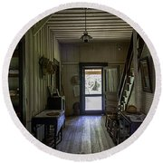 Farmhouse Entry Hall And Stairs Round Beach Towel