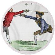 Fencing, 18th Century Round Beach Towel