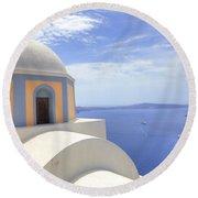 Fira - Santorini Round Beach Towel by Joana Kruse