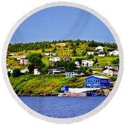 Fishing Village In Newfoundland Round Beach Towel