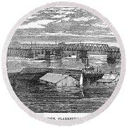 Flood: Clarksville, 1874 Round Beach Towel