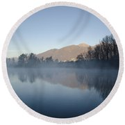 Foggy Lake Round Beach Towel
