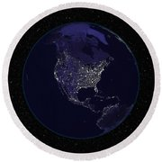 Full Earth At Night Showing City Lights Round Beach Towel