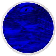 Gentle Giant In Negative  Blue Round Beach Towel