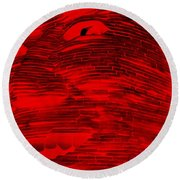 Gentle Giant In Negative Red Round Beach Towel