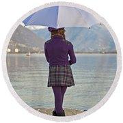 Girl With Umbrella Round Beach Towel