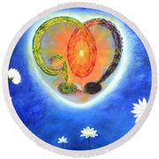 God Lives In My Heart Round Beach Towel