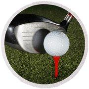 Golf Ball And Club Round Beach Towel
