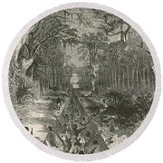 Grants Canal, 1862 Round Beach Towel by Photo Researchers