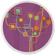 Graphic Tree Pattern Round Beach Towel by Setsiri Silapasuwanchai