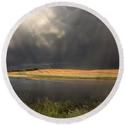 Hail Storm And Rainbow Round Beach Towel