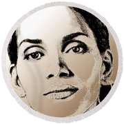 Halle Berry In 2008 Round Beach Towel by J McCombie