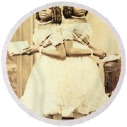 2 Headed Girl Millie-chrissie Round Beach Towel by Photo Researchers