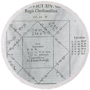Horoscope Chart For Louis Xiv, 1661 Round Beach Towel by Science Source