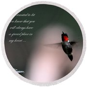 Hummingbird Card Round Beach Towel