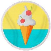 Ice Cream On Hand Made Paper Round Beach Towel